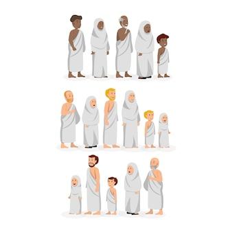 Ensemble de personnages portant des vêtements de hajj ihram musulmans d'ethnies diverses