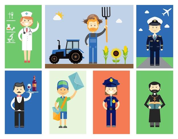 Ensemble de personnages professionnels hommes et femmes avec des icônes vectorielles colorées d'un médecin ou d'une infirmière agricultrice avec un tracteur et tournesols pilote serveur ou vin steward postier policier et prêtre