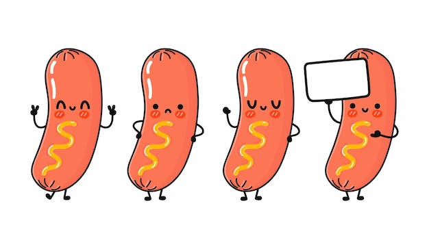 Ensemble de personnages de saucisse à la moutarde heureux mignon drôle