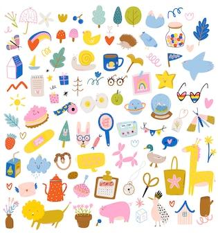 Ensemble de personnages scandinaves mignons, y compris des citations à la mode et des éléments décoratifs cool dessinés à la main.