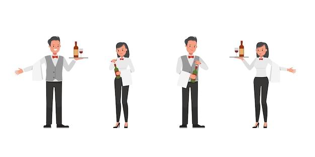 Ensemble de personnages de serveurs, d'hommes et de femmes