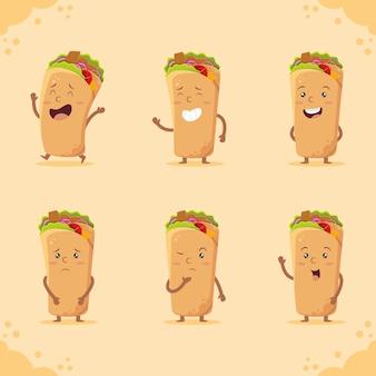 Ensemble de personnages shawarma mignon