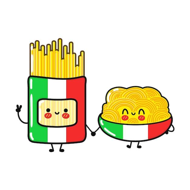 Ensemble de personnages de spaghetti heureux mignon drôle