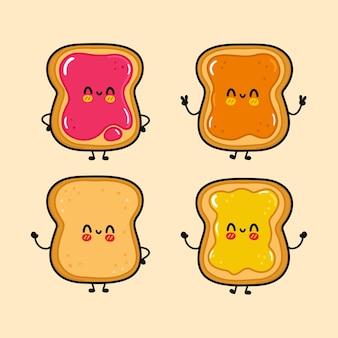 Ensemble de personnages de toast heureux mignon drôle