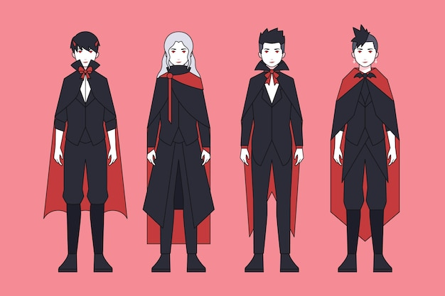 Ensemble de personnages de vampire halloween effrayants