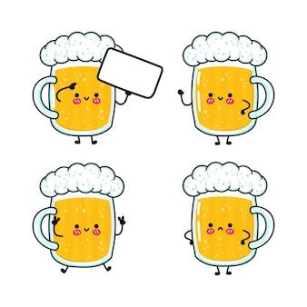 Ensemble de personnages de verre heureux mignon drôle de bière