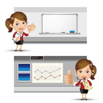 Ensemble de personnes - affaires - femme d'affaires avec graphique et tableau