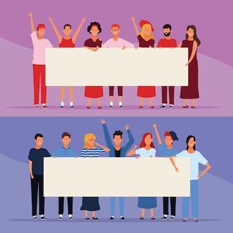 Ensemble de personnes avec des affiches