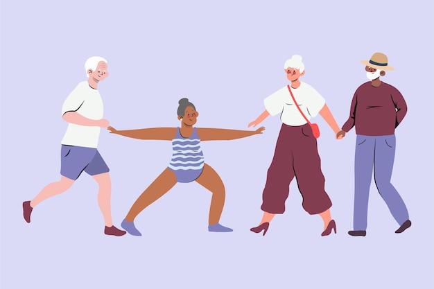 Ensemble de personnes âgées actives