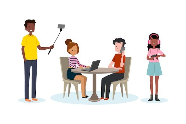Ensemble de personnes avec des appareils