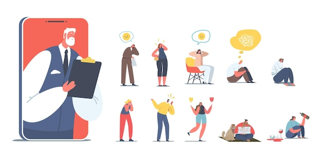Ensemble de personnes ayant des problèmes psychologiques. les personnages féminins masculins atteints de maladie mentale ont besoin de l'aide d'un psychologue, alcoolique, bipolaire, dépression isolée sur fond blanc. illustration vectorielle de dessin animé