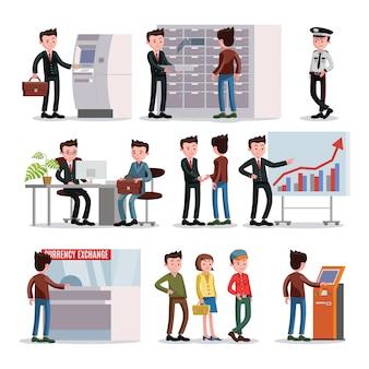 Ensemble de personnes de banque