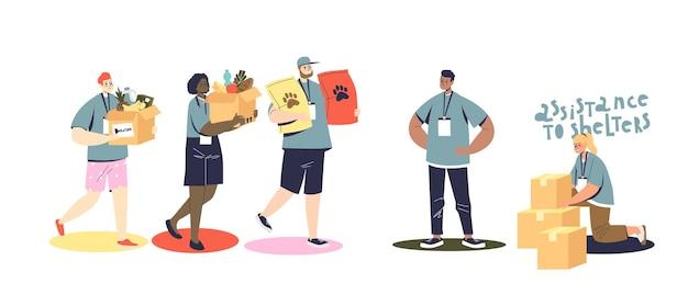 Ensemble de personnes bénévoles faisant des dons aux pauvres et aux refuges pour animaux. dessin animé homme et femme donnant de la nourriture pour une aide et un soutien médiocres. illustration vectorielle plane