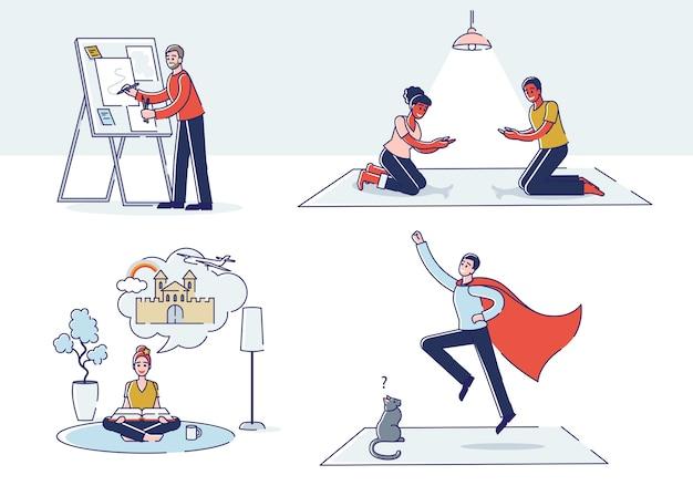Ensemble de personnes avec une bonne imagination: personnages jouant avec l'ombre, dessinant, rêvant en lisant et étant un super héros