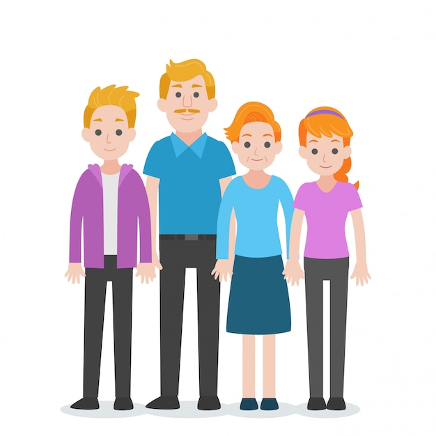 Ensemble de personnes caractère famille