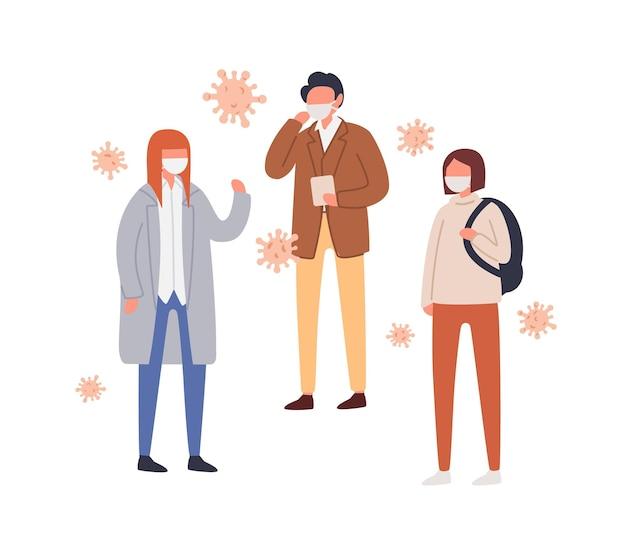 Ensemble de personnes dans un masque de protection contre le coronavirus