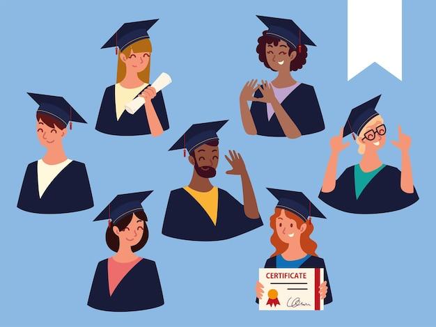 Ensemble de personnes diplômées