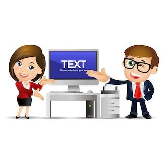 Ensemble de personnes - entreprise - les gens d'affaires discutent à l'ordinateur