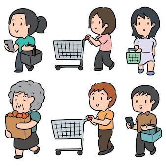 Ensemble de personnes faisant du shopping isolé sur blanc