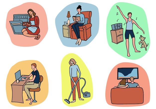 Ensemble de personnes faisant des tâches ménagères, des loisirs. collection d'illustrations vectorielles dessinées à la main dans un style simple. dessins colorés pour la conception isolés sur blanc.