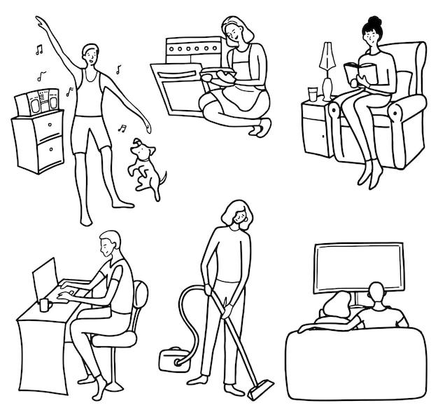 Ensemble de personnes faisant des tâches ménagères, des loisirs. collection d'illustrations vectorielles dessinées à la main dans un style simple. dessins de contour pour la conception isolés sur blanc.