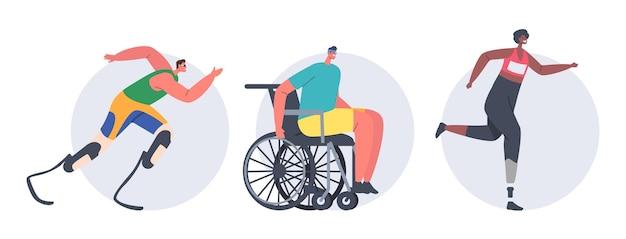 Ensemble de personnes handicapées exécutent. personnages d'athlètes sportifs et sportives faisant du jogging sur un fauteuil roulant ou une prothèse de jambe bionique, de jeunes hommes ou femmes amputés courant un marathon. illustration vectorielle de dessin animé, icônes
