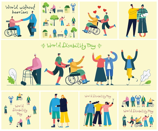 Ensemble de personnes handicapées, hommes et femmes aidant. monde sans barrières. personnages de dessins animés modernes plats.