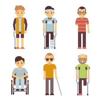 Ensemble de personnes handicapées. personnes âgées et jeunes invalides.