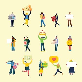 Ensemble de personnes, hommes et femmes avec différents signes