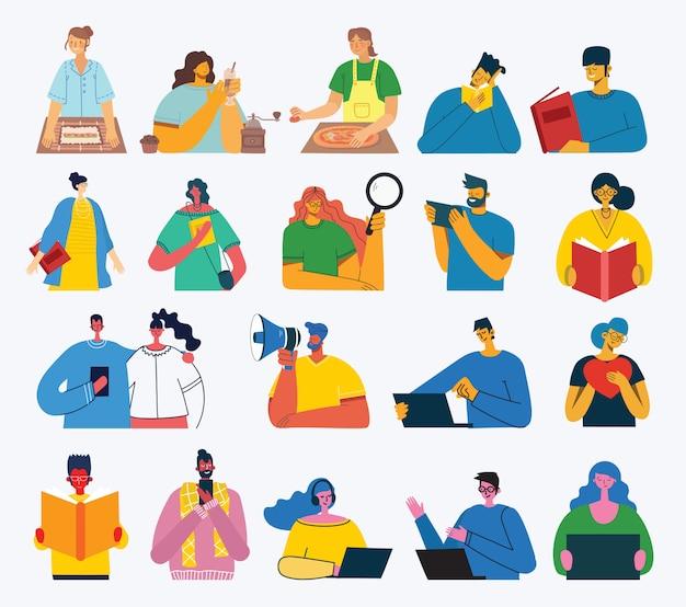 Ensemble de personnes, hommes et femmes, lire un livre, travailler sur un ordinateur portable, rechercher avec une loupe, communiquer