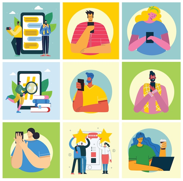 Ensemble de personnes, hommes et femmes lisent un livre, travaillent sur un ordinateur portable, recherchez avec une loupe, communiquent un style plat coloré moderne.