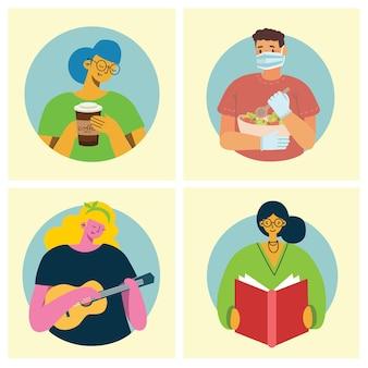 Ensemble de personnes, d'hommes et de femmes avec des objets graphiques différents pour des collages et des illustrations.