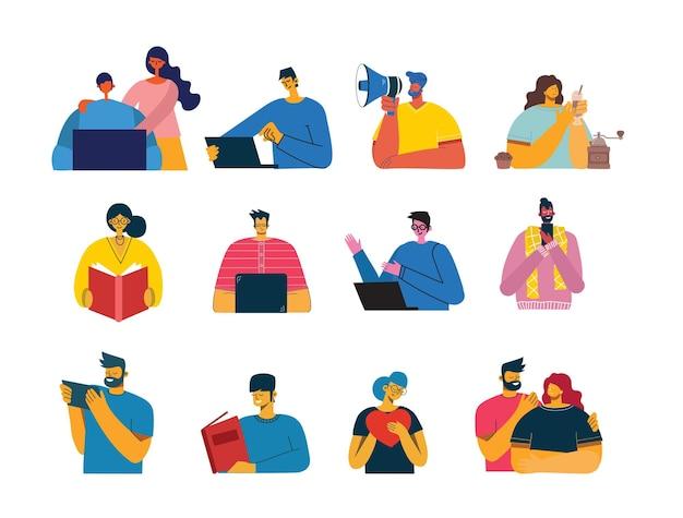 Ensemble de personnes, hommes et femmes avec des signes différents