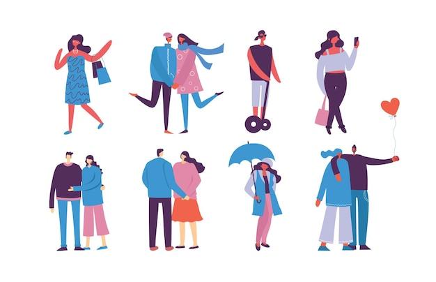 Ensemble de personnes, d'hommes et de femmes avec des signes différents