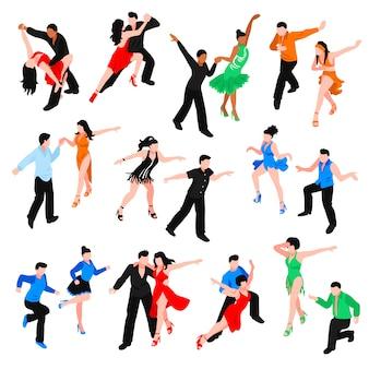 Ensemble de personnes isométriques danses