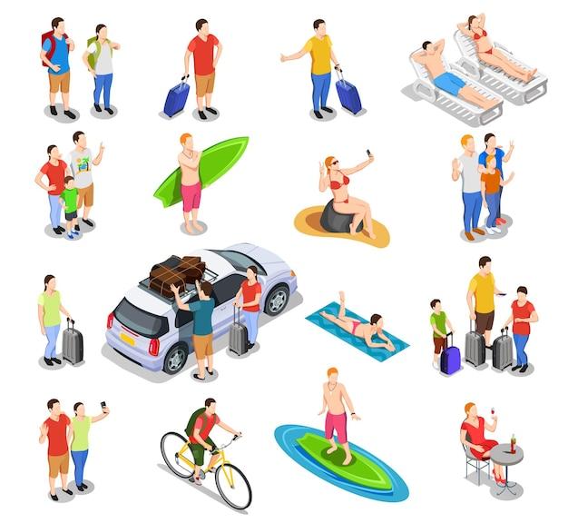 Ensemble de personnes isométriques pendant les vacances voyageant en voiture, surf à vélo, vacances à la plage isolée