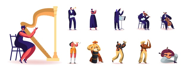 Ensemble de personnes jouant différents instruments de musique. personnages masculins et féminins avec harpe, trompette et flûte, maracas, tambour ou tambourin isolé sur fond blanc. illustration vectorielle de dessin animé