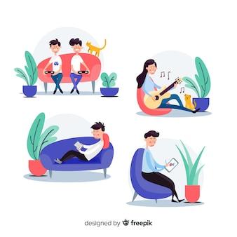 Ensemble de personnes jouissant de leurs loisirs