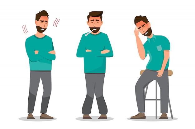 Ensemble de personnes malades ne se sentant pas bien, ayant froid, maux de tête et fièvre