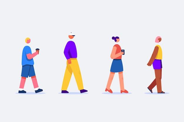 Ensemble de personnes marchant dehors dans un design plat