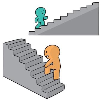 Ensemble de personnes marchent l'escalier