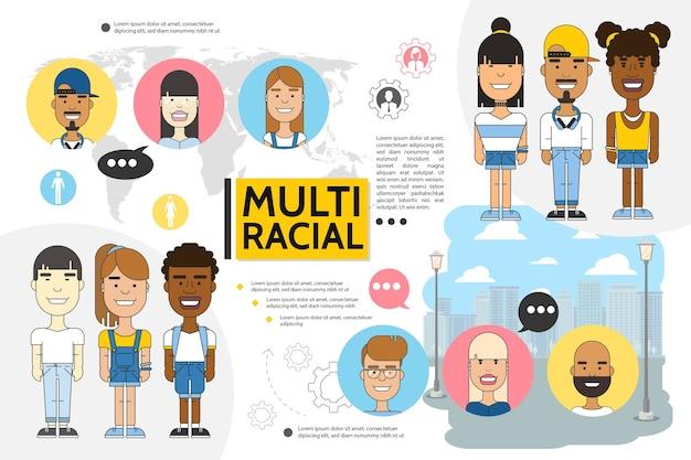 Ensemble de personnes multiraciales plates