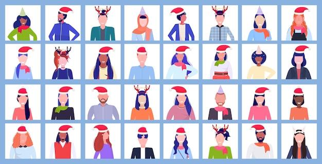 Ensemble de personnes portant des chapeaux et des cornes de père noël profil nouvel an vacances de noël