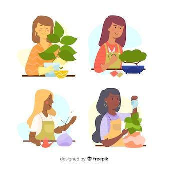 Ensemble de personnes prenant soin des plantes