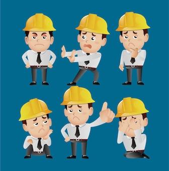 Ensemble de personnes - profession - ingénieur avec différentes poses