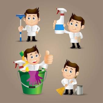 Ensemble de personnes profession nettoyant