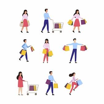 Un ensemble de personnes qui détiennent des sacs à provisions. vente saisonnière dans un magasin, centre commercial, supermarché. les hommes et les femmes avec des colis sont isolés sur fond blanc. illustration de dessin animé de vecteur plat.