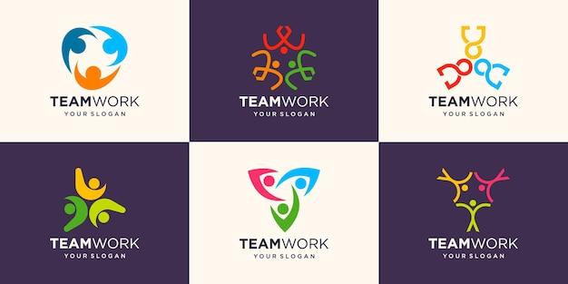 Ensemble de personnes sociales unité ensemble travail d'équipe logo icône vecteur