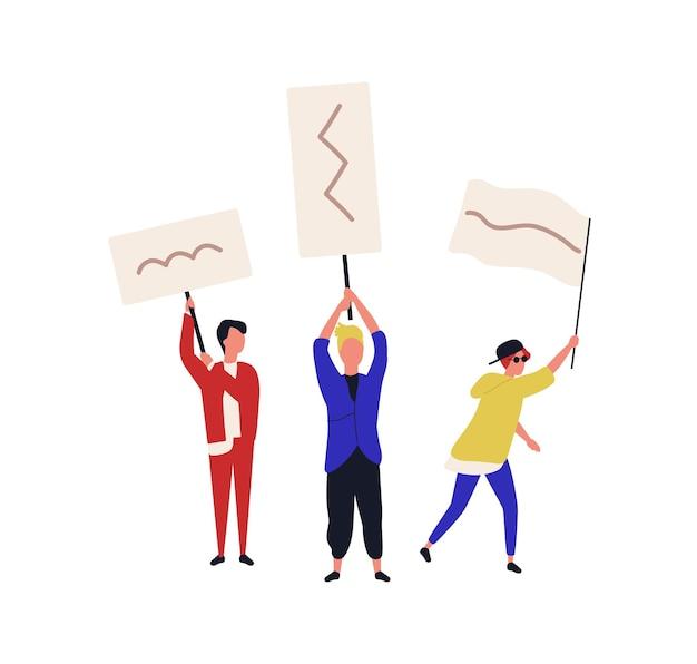 Ensemble de personnes tenant des pancartes ou des drapeaux isolés sur fond blanc. adolescents participant à la protestation sociale, réunion de masse, résistance civile, piquetage, marche. illustration vectorielle de dessin animé plat.