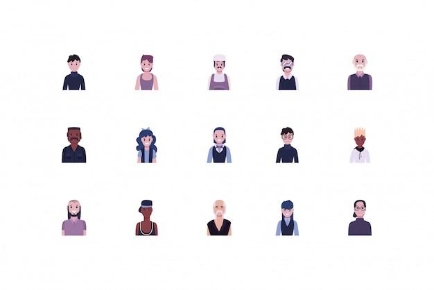 Ensemble de personnes et de travailleurs de la diversité